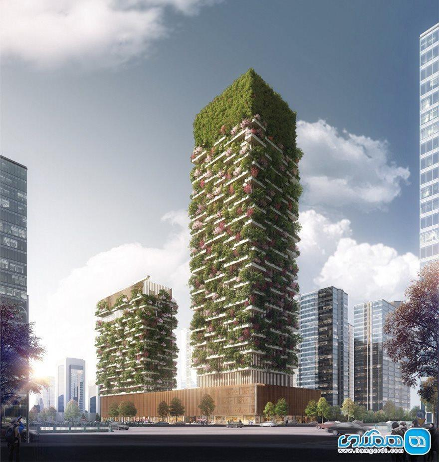 این ساختمان یک غول اکسیژن سازی است ، اولین جنگل عمودی آسیا در چین