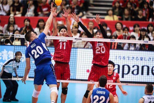 شکست والیبال ایتالیا مقابل ژاپن