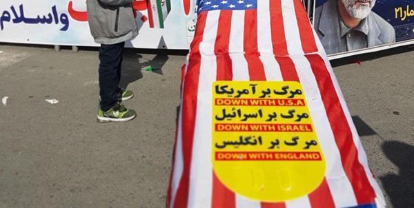 تابوت ترامپ در جهت راهپیمایی یوم الله 22 بهمن