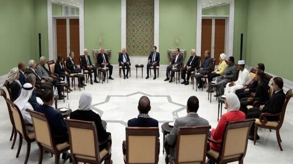 دیدار اسد با هیأتی از شخصیت های عربی و اسلامی